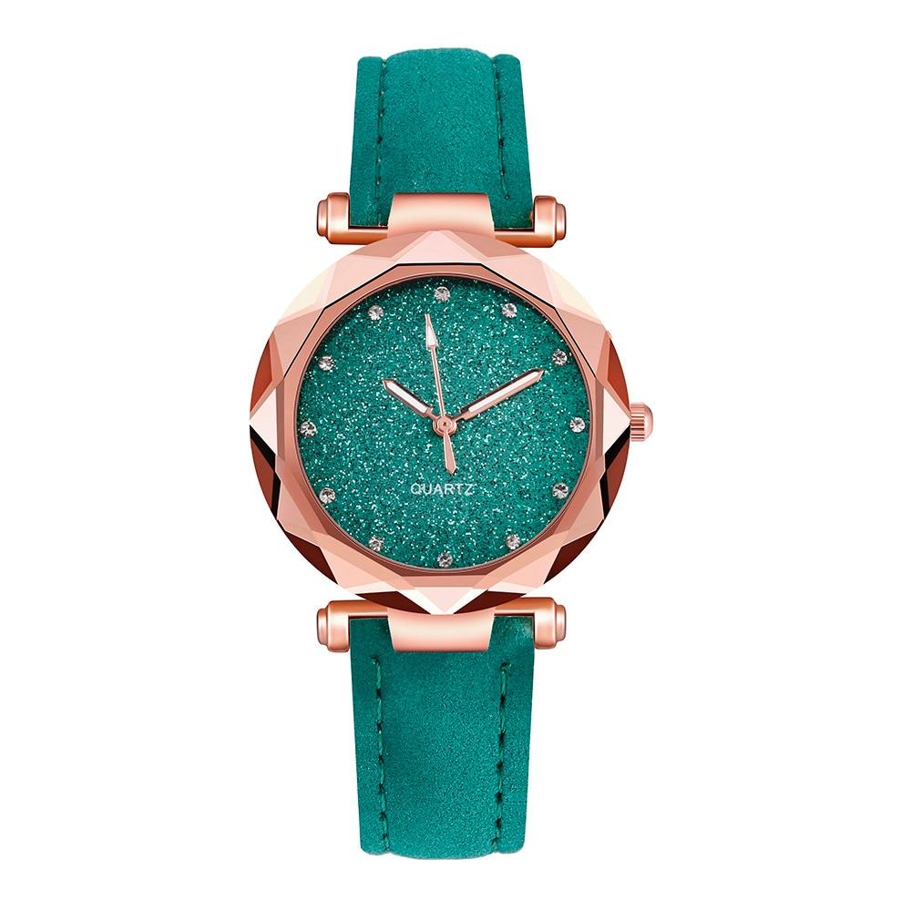 Женские Модные Зеленые кварцевые часы Стразы в Корейском стиле, женские наручные часы, женские часы с ремешком, женские часы, часы