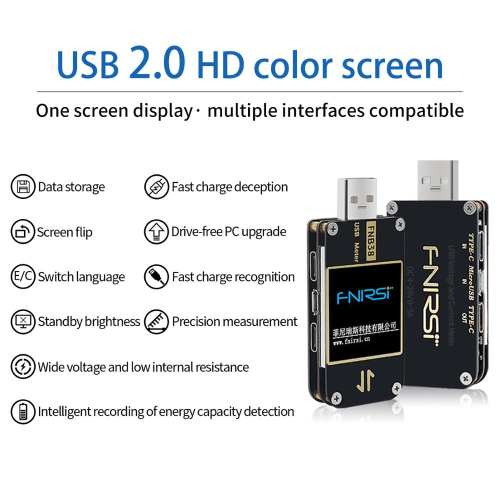 FNB38 измеритель тока и напряжения USB тест er QC4 + PD3.0 2,0 PPS Быстрая зарядка протокол тест емкости