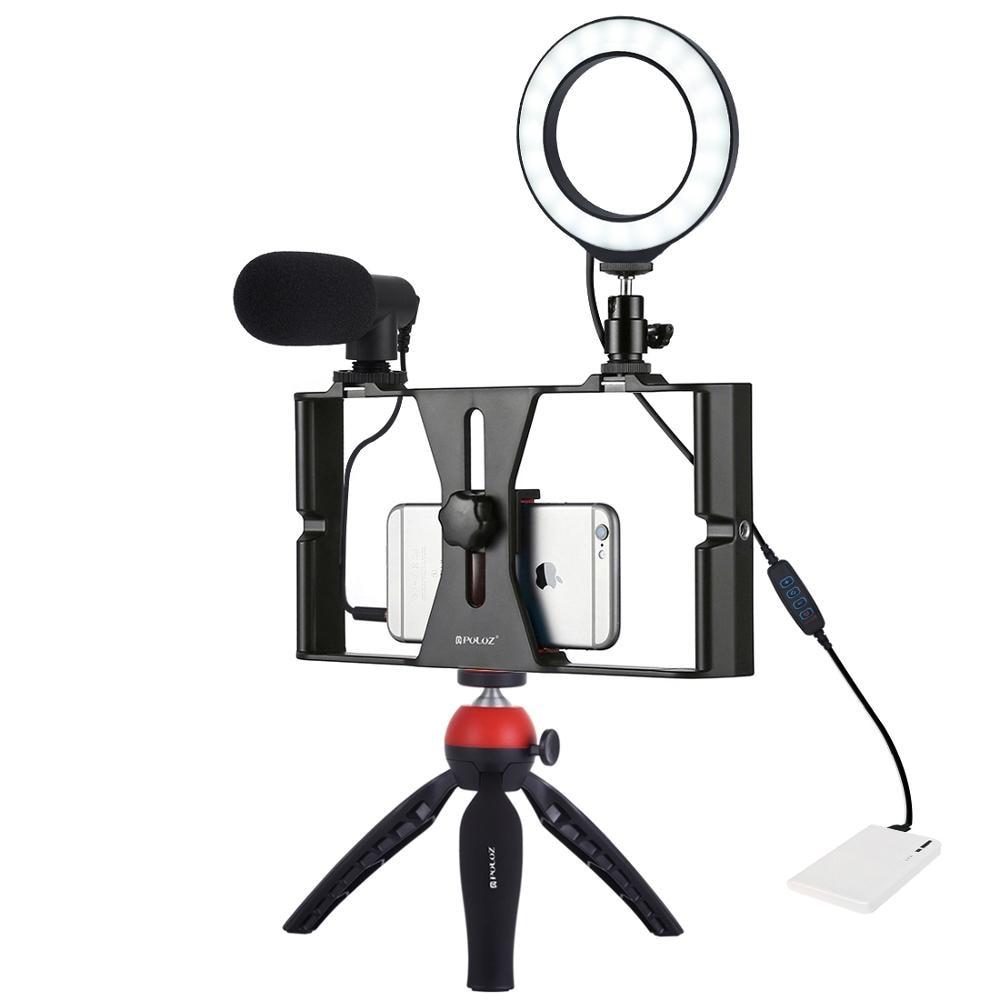 PULUZ 4 в 1 Vlogging прямая трансляция смартфон видео установка + 4,6 дюйма кольцо LED видео свет и микрофон + крепление штатива + головка штатива