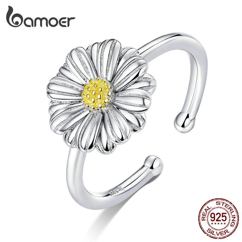 Bamoer prata 925 jóias esmalte margarida flor aberto ajustável anéis de dedo para mulher sterling silver fine jewelry scr616