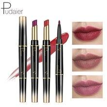 Pudaier Double rouge à lèvres crayon mat rouge à lèvres rotatif lèvre ligne stylo pas teinté avec rouge à lèvres coréen maquillage noël maquillage