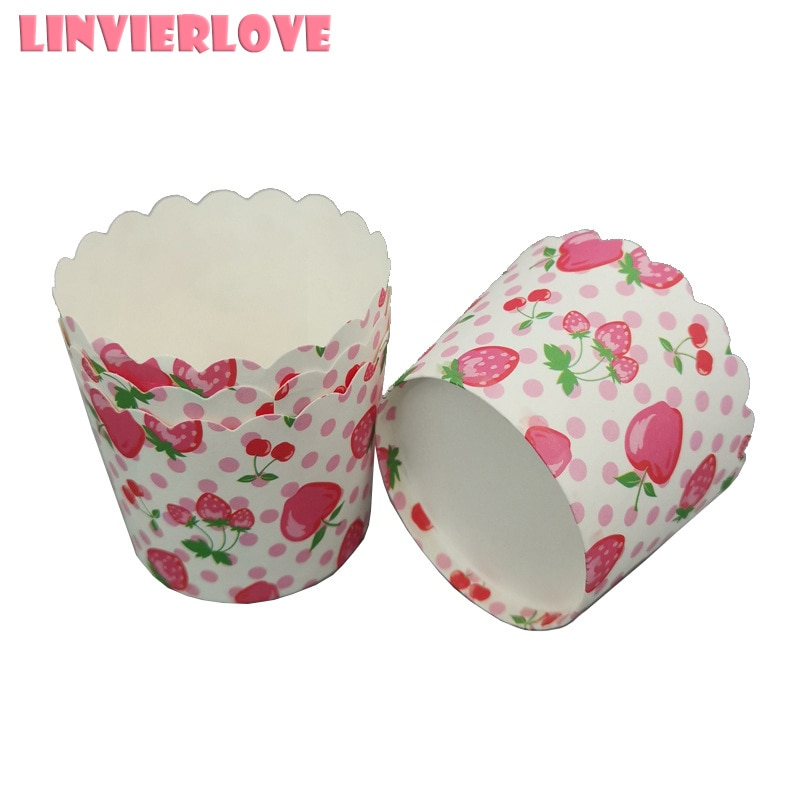 LINVIERLOVE 50 piezas de fruta para hornear Muffin pastel de papel taza de papel de fresa a prueba de aceite bandeja de papel huevo tartas soporte de cocina Cupcake los casos de molde