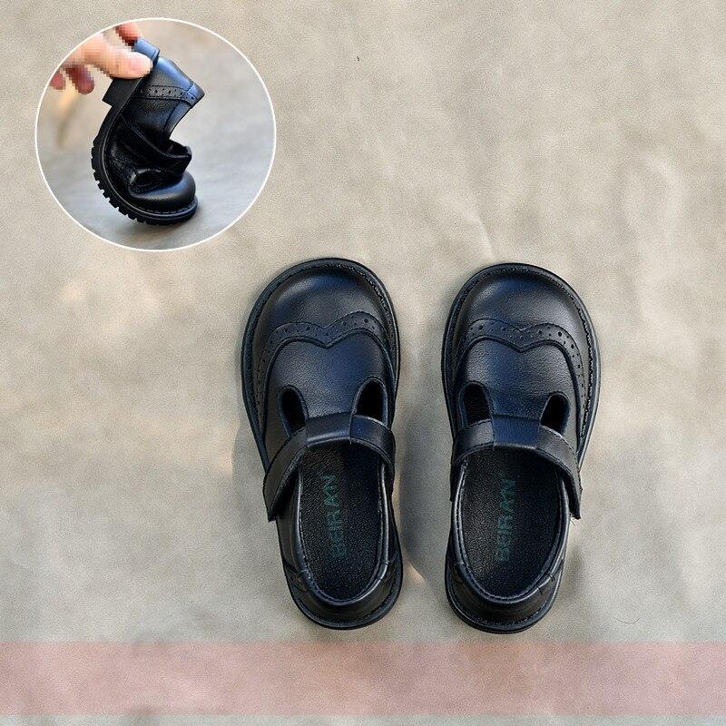 Dolakids-حذاء كاجوال من الجلد بنعل ناعم للفتيات ، حذاء أميرة مدرسة الربيع والخريف 2021