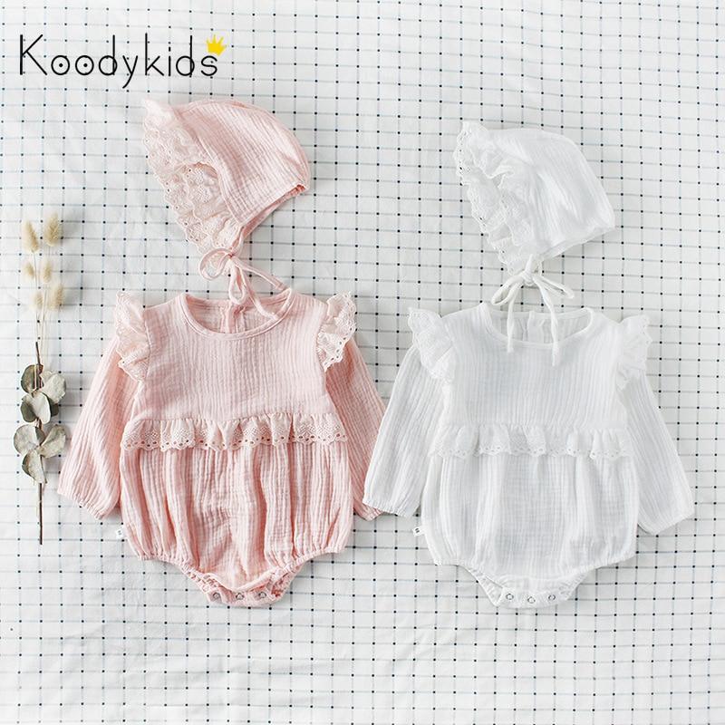 Koodykids Bodysuits de primavera monos con sombrero peleles de encaje para bebés otoño Rosa Blanco bebé ropa de moda de manga larga