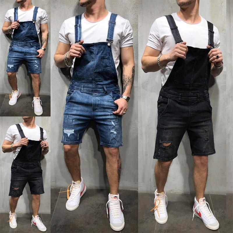 Джинсовый комбинезон мужской, модная уличная одежда для работы, повседневные шорты, облегающий джинсовый комбинезон, лето