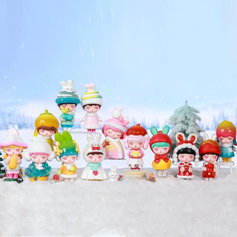 POP MART-صندوق كامل من سلسلة Bunny Winter ، إصدار محدود ، صندوق أعمى لطيف ، شخصيات عمل Kawaii ، شحن مجاني