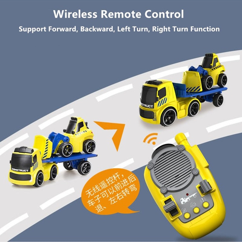 Electric  Engineering Vehicle Wireless Control Trail Car  Playable And Anti-Falling High Simulation Sound Effect With 2pcs Truck