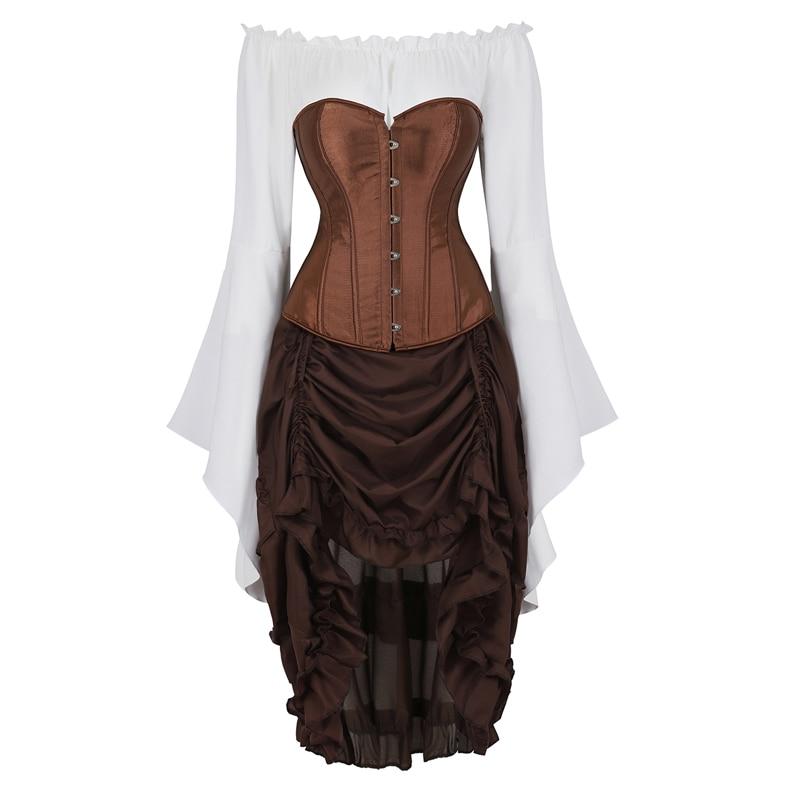 مشد للفستان تنورة علوية 3 قطع زي غير النظامية تأثيري القوطية الشرير بوستير القراصنة Burlesque خمر مثير Korsett حجم كبير