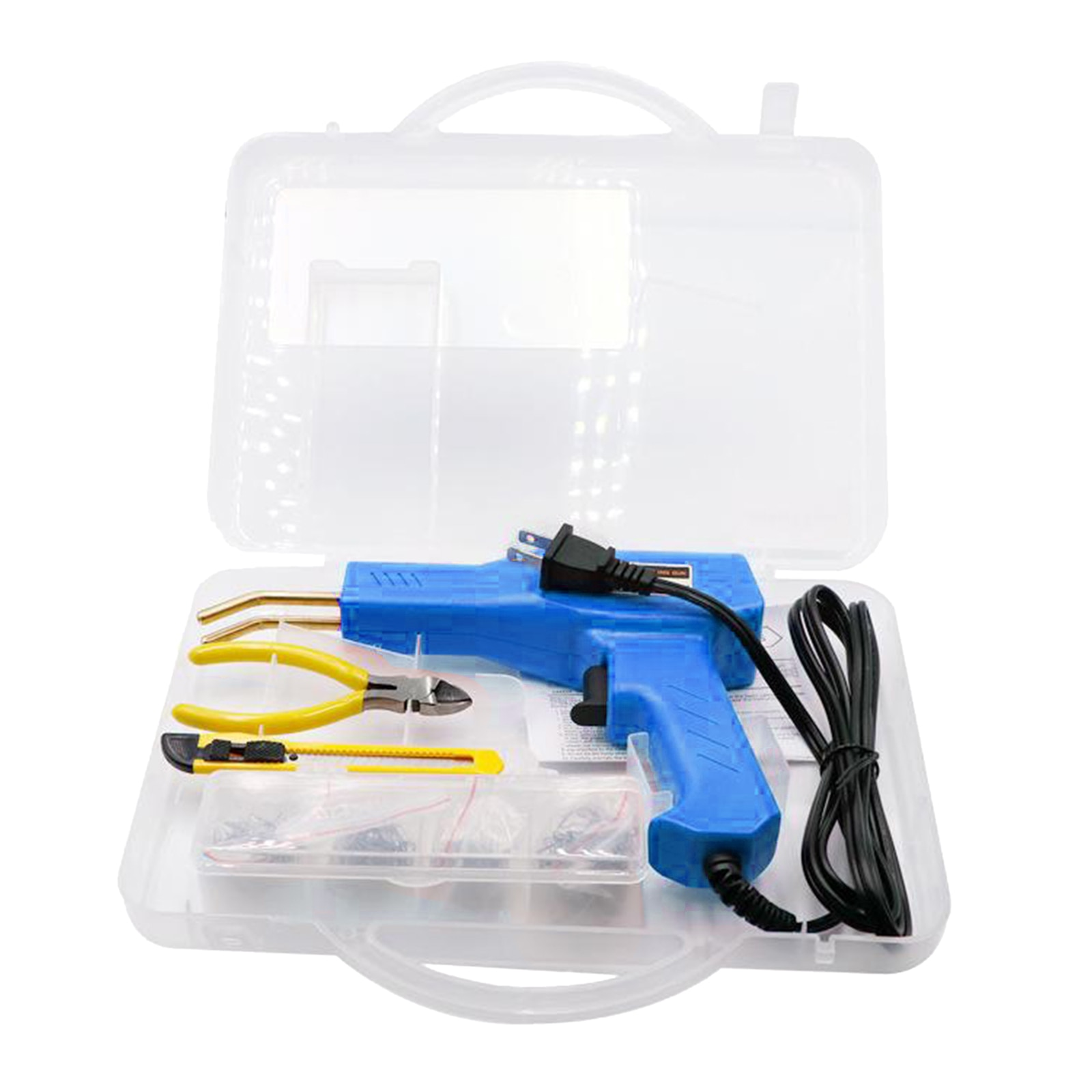 Hot Stapler Machine Handy Plastic Weld Garage Tools Repairing Kits Blue