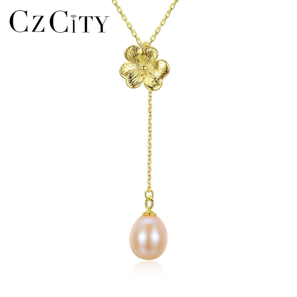 Czcity natural pérola jóias finas flor pingente colares para o noivado casamento feminino 925 prata esterlina kolye presente de natal