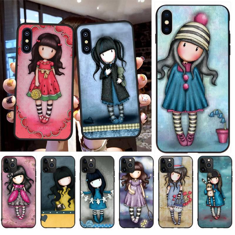 PENGHUWAN Cartoon Lovely Santoro Gorjuss Black Soft Shell Phone Case Capa for iPhone 11 pro XS MAX 8 7 6 6S Plus X 5S SE XR case