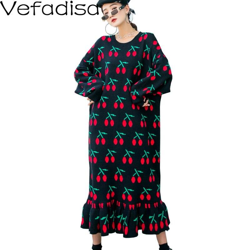 Vefadisa, vestido de talla grande con patrón de cereza para mujer, otoño 2020, vestido largo tejido con volantes, Jersey, vestido QYF3921