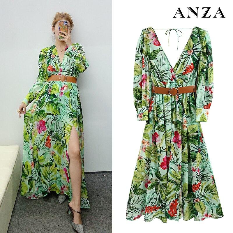 Za 11 mujeres Mididress con cinturón de impresión Floral vestido de gasa de manga larga Mujer verano verde elegante suelto Casual Shirtdress
