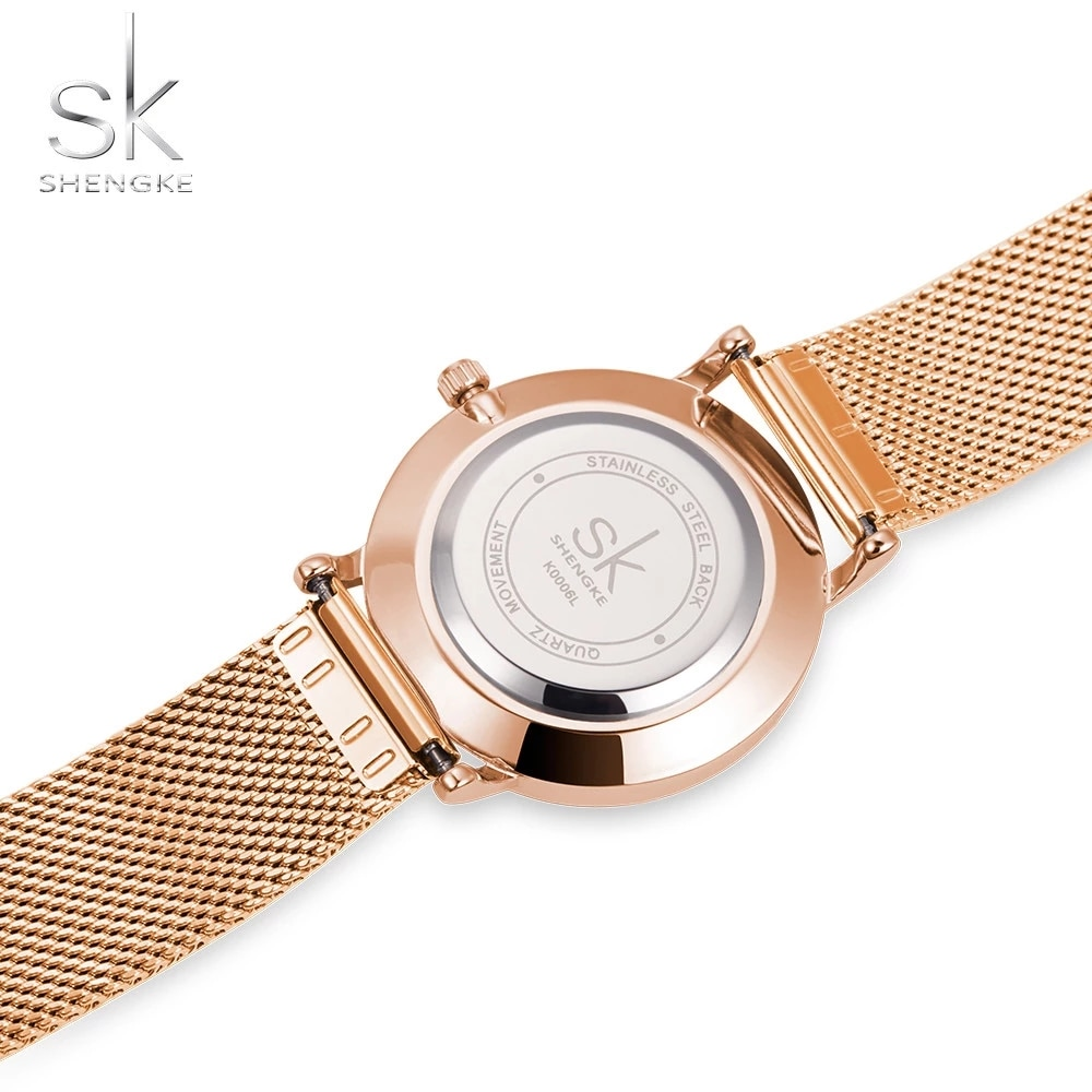 SHENGKE New Fashion Branded Women Wristwatches Super Slim Rosegold Mesh Stainless Steel  Watches Woman Clock Ladies Quartz Watch enlarge