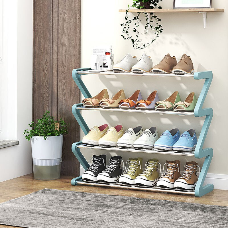 Полка для обуви Z-образная полка для обуви дверь в сборе многослойная Пылезащитная полка для обуви шкаф для обуви Органайзер металлическая ...