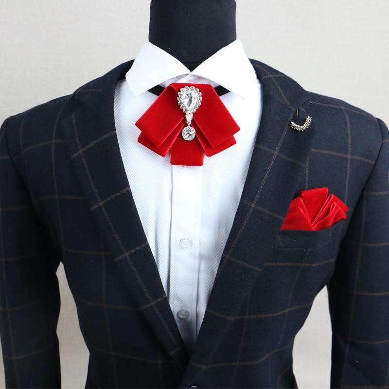 New Fashion Men's Wedding Rhinestone Velvet Bowtie Groomsman Retro Gentleman British Bow Tie Gifts for Men Pocket Square Sets недорого