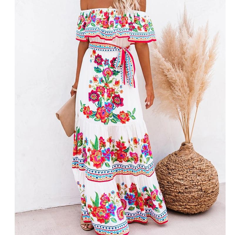 الصيف فستان المرأة 2021 فستان أبيض الأزهار قبالة الكتف فستان طويل الإناث الشارع الشهير فساتين حفلات أنيقة غير رسمية السيدات