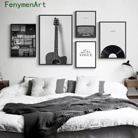 black white retro guitar record canvas painting nordic minimalist music poster print modern pictures music living room decor