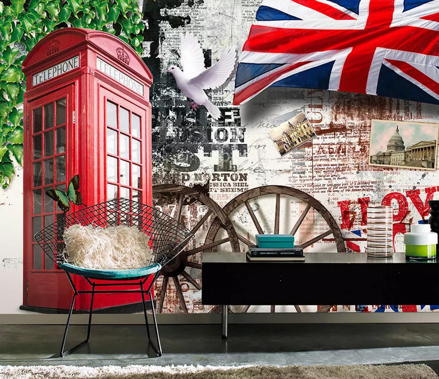 [Autoadhesivo] cabina de teléfono 3D 1840138 mural de papel de pared calcomanía pared murales