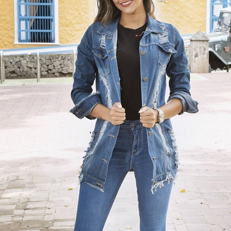 جاكيتات جينز نسائية ، ملابس نسائية على الطراز الكوري ، ملابس بأكمام طويلة ، ملابس خارجية ، جاكيت جينز ممزق ، ربيع-خريف