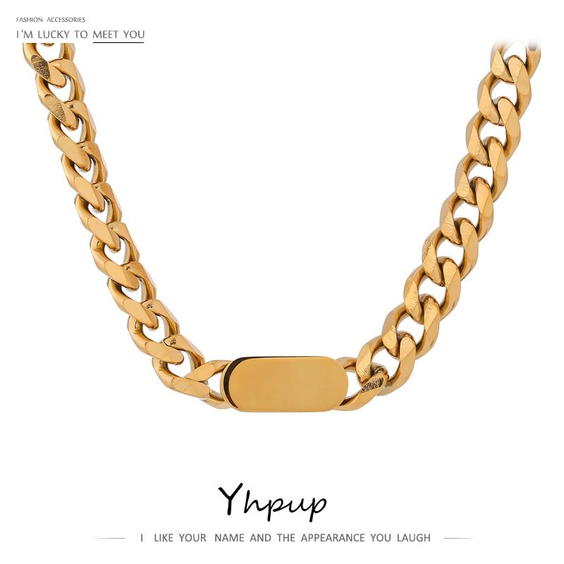 Yhpup 2020 corrente de ouro colar de aço inoxidável joyería acero inoxidável mujer charme textura colar punk jóias presente