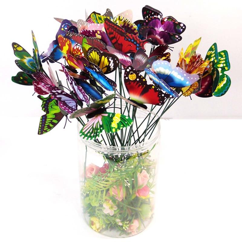 50Pcs/Set Butterflies Garden Yard Planters Colorful Butterfly Stakes Decoracion Outdoor Decor Flower Pots Decoration