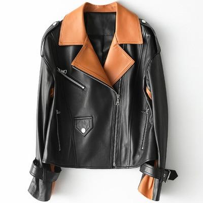 2021 Women Fashion Genuine Real Sheep Leather Jacket H21