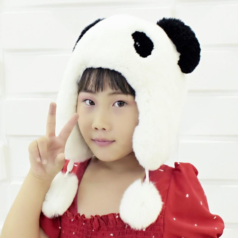 winter girls hat natural rabbit fur bomber ear hats warm high quality cute kids real fur hat