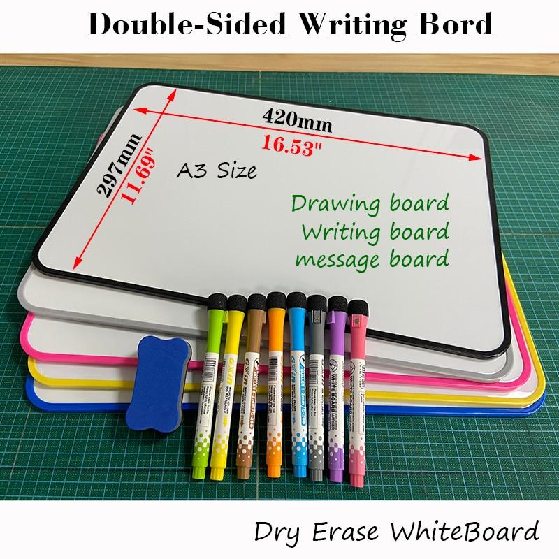 Двухсторонняя доска для письма Размера A3, нельзя стирать, доска для объявлений для детей, тренировочная доска для рисования, сухой стирание,...