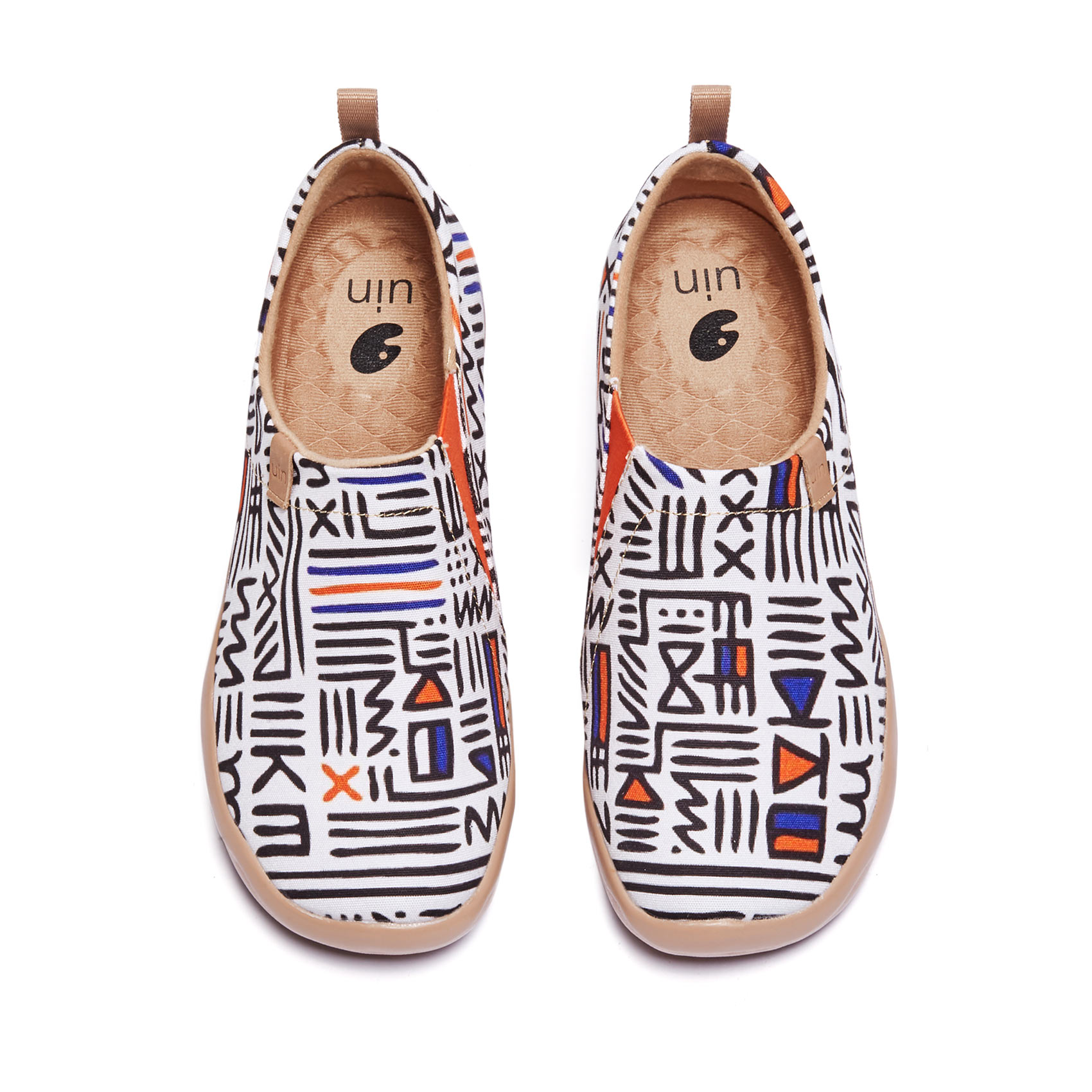 UIN المرأة الانزلاق على أحذية رياضية حذاء بدون كعب حك الفن رسمت الراحة أحذية مشي لينة استكشاف المكسيك
