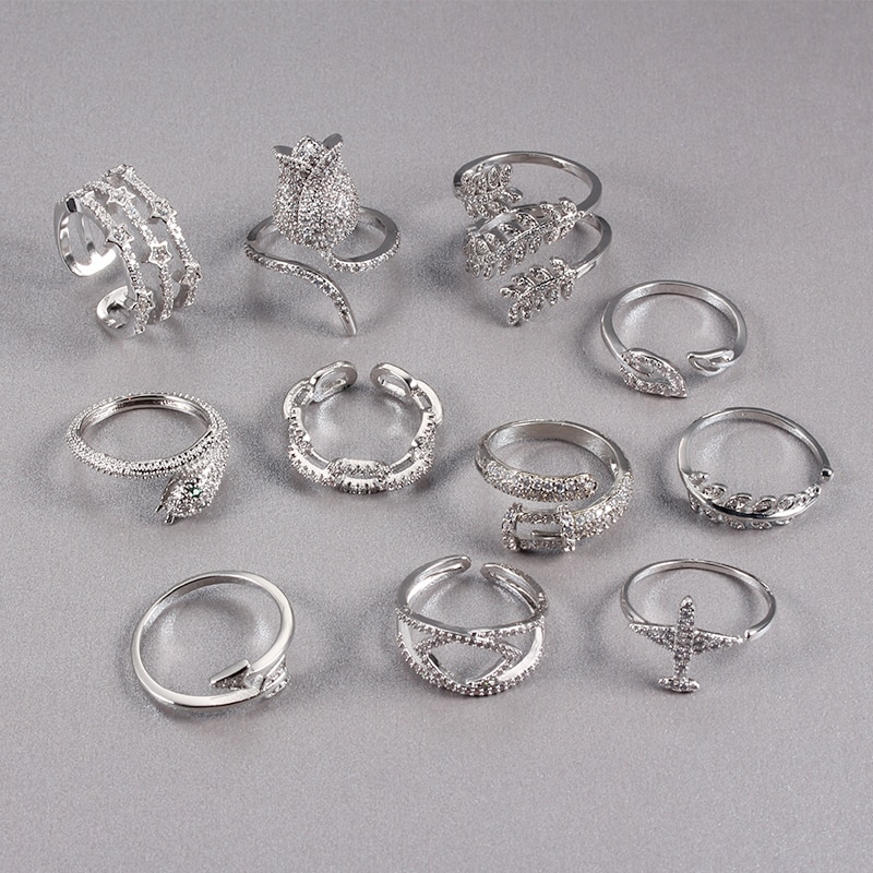 Women Ring Opening Micro Set Zircon White Gold Ring Fashion Charm Personality Geometric Shape Ring Banquet Wedding Birthday Gift