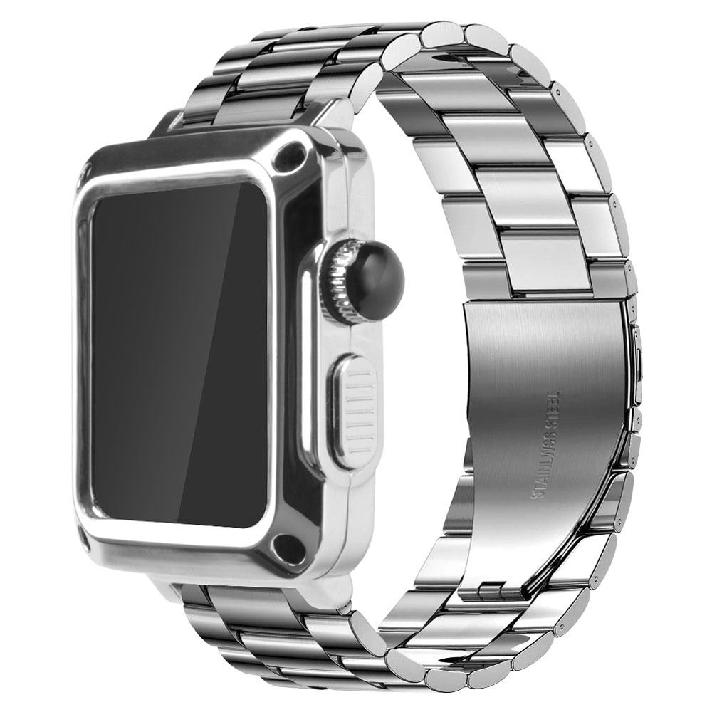 Case+Strap for Apple Watch Band 44 mm 42mm 42mm 40mm Stainless Steel Metal Bracelet for iWatch SE 6 5 4 3 Protective Cover