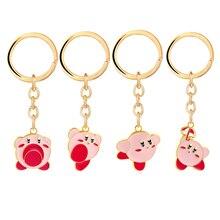 Jeu Kawaii Kirby porte-clés femmes sac pendentif métal petit rose mignon dessin animé porte-clés hommes mode bijoux llaveros para mujer