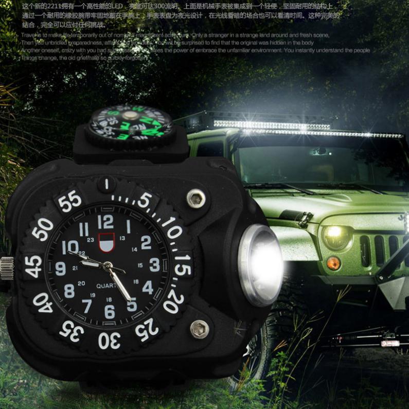 3 em 1 relógio brilhante luz lanterna esportes ao ar livre dos homens moda à prova dwaterproof água led recarregável relógio de pulso lâmpada tocha