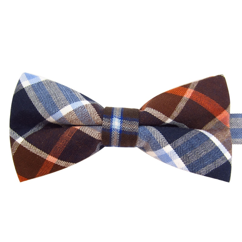 2019 New Fashion Men's Bow Ties Wedding Double Fabric Cotton Plaid Bowtie Club Banquet Anniversary Butterfly Tie with Gift Box