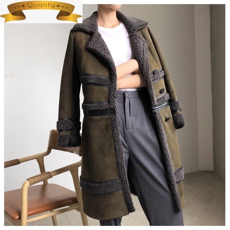 Chaqueta larga de piel auténtica para Mujer, chaquetas de piel de oveja...