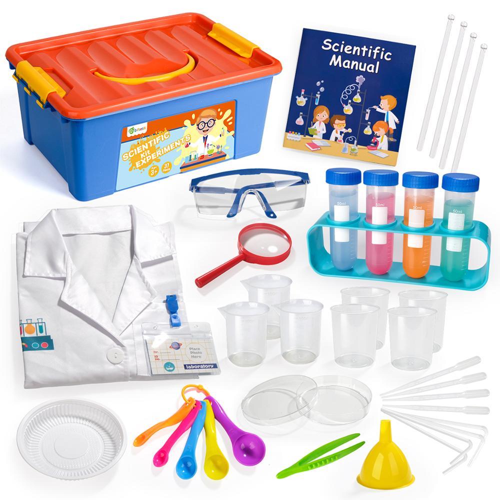 D-FantiX Kids Science Experiment Kit, 36Pcs Pretend Play Science Kit with Lab Coat Laboratory Set STEM Toys for Kids Aged 3 4 5