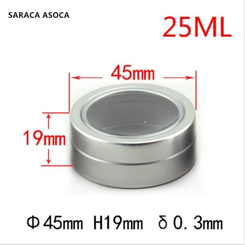 Tarros de aluminio rellenables vacíos de 25ml caja de aluminio con ventana abierta de Metal plateado 100 unids/lote