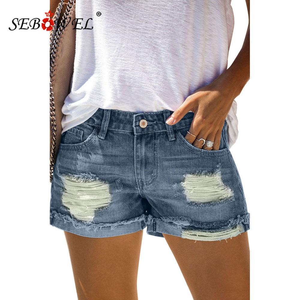 SEBOWEL Summer Women's Blue Denim Shorts Distressed Hole Ripped Rolled Hem Short Jeans Vintage Lady Shorts Bottoms Clothes