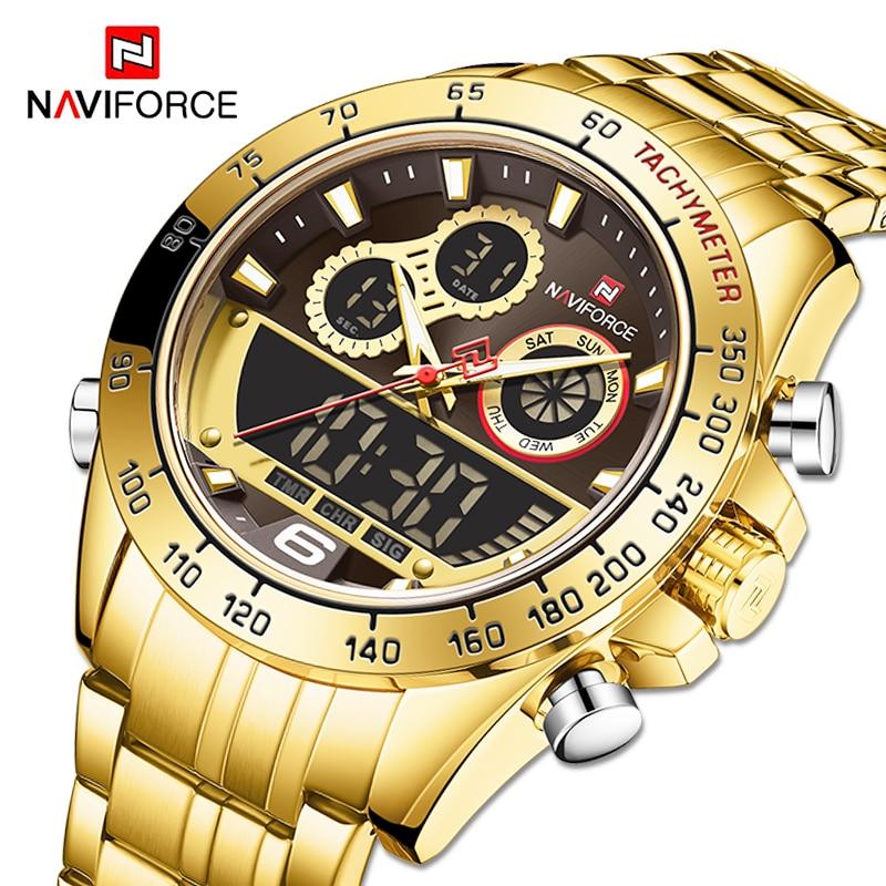 NAVIFORCE Military Sports Watches For Men Luxury Gold Waterproof Quartz Wrist watch Digital Analog Clock Relogio Masculino 2020