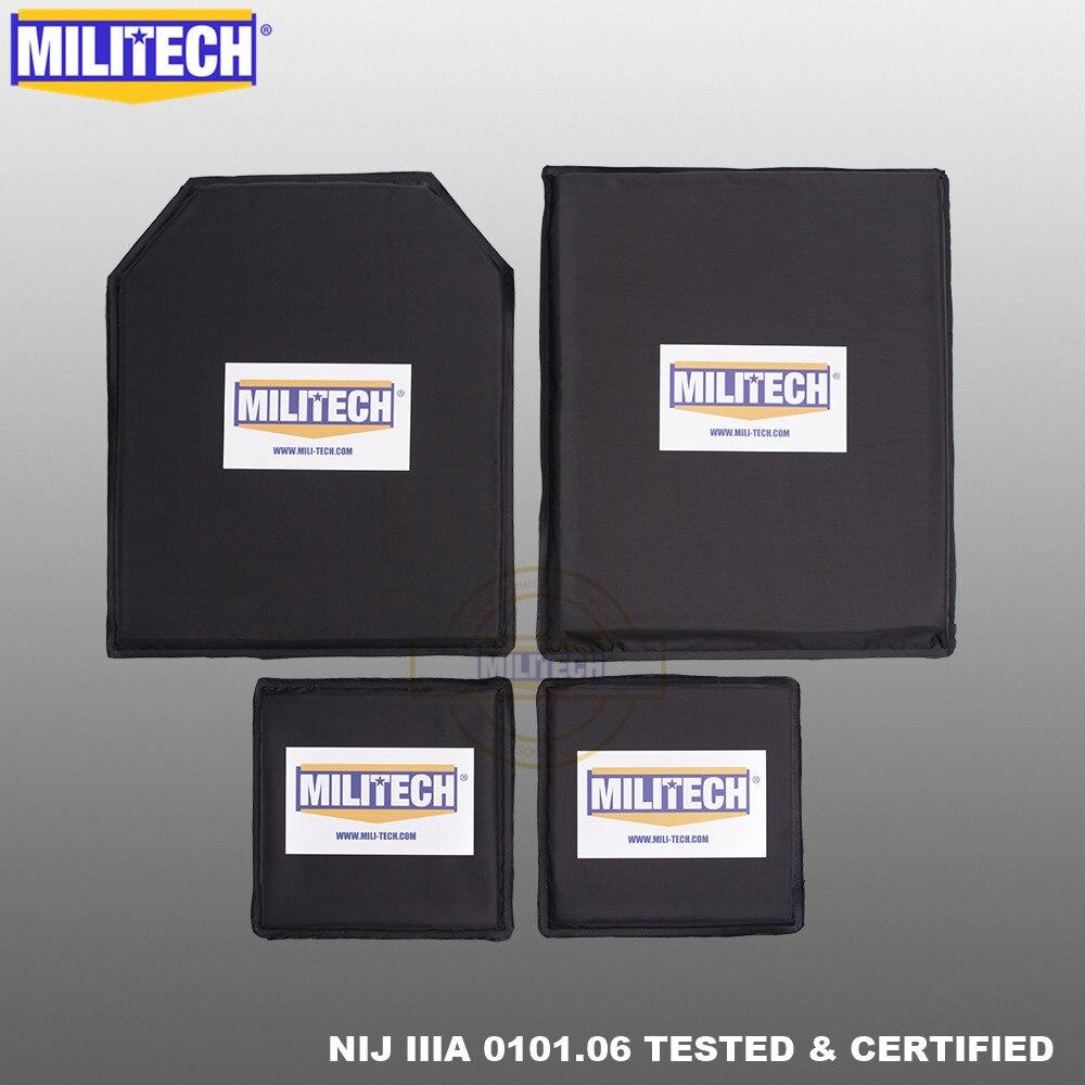 MILITECH 10x12 STC & SC y 6x6 pulgadas pares NIJ nivel IIIA 3A Aramid Panel balístico suave Placa de prueba de balas armadura del cuerpo