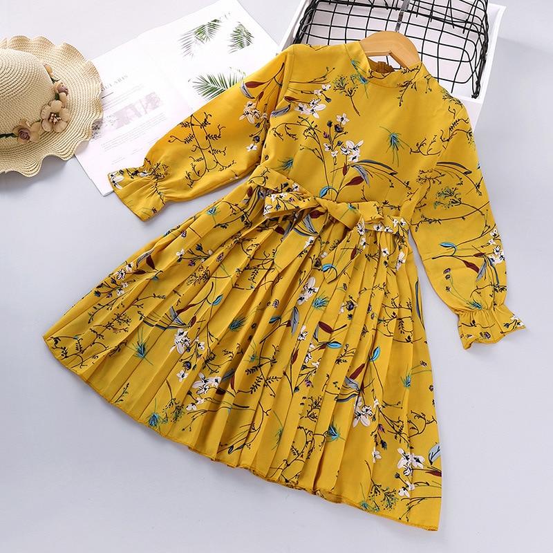 2021 New Spring Children's Korean Print Dress Girl Long-sleeved Fashion Frill Chiffon All-match Princess Kid Skirt GD72