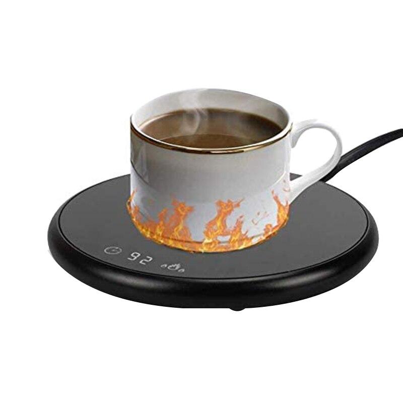 THEVFAMILY مدفأة للقدح القهوة الكهربائية الذكية المشروبات مع الموقت والتحكم في درجة الحرارة ، للمكتب/المنزل الأسود ، الولايات المتحدة التوصيل