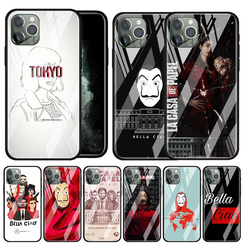 Spain TV La Casa de papel Tempered Glass Case Coque for Apple iPhone 11 Pro MAX X XR XS MAX 6 6S 7 8 Plus SE 2020 Phone Cover