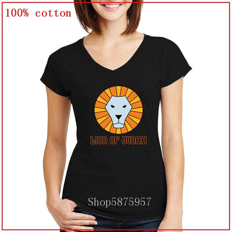 Camiseta de León de Judá para mujer, judaísmo mesiánico cristiano, Etiopía judía de Judá, ropa de mujer, camiseta de entrenamiento rastafá con cuello en V