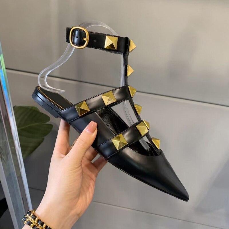 2021 Luxury Brand Women Slippers Designer Rivets Shoes V Right Logo Genuine Leather Slipper Flat Sandals Women Slippers 35-41