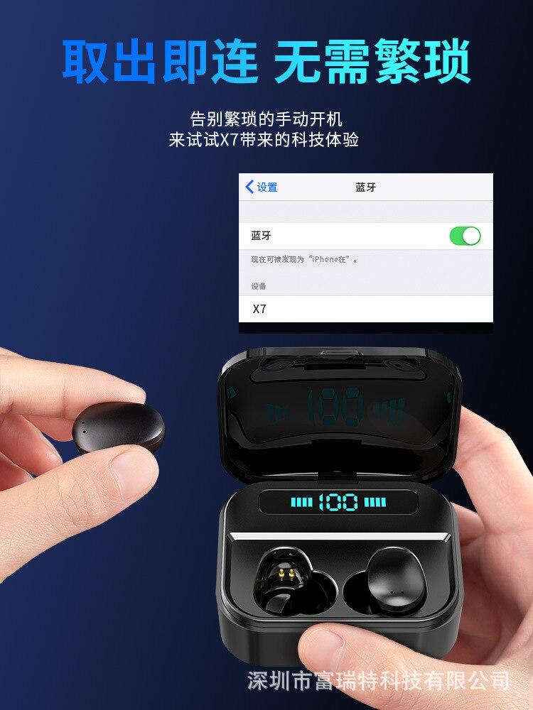 Fone de Ouvido sem Fio Fones com Microfone Esporte para o Telefone Bluetooth Mini Caixa Carregamento Inteligente kp x7 Tws 5.0