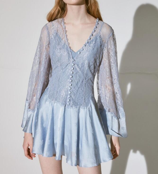 Luxury Runway Designers 2020 New Arrivals Spring Summer High Quality V Neck Flare Sleeve Elegant Lace Pleated Mini Dress