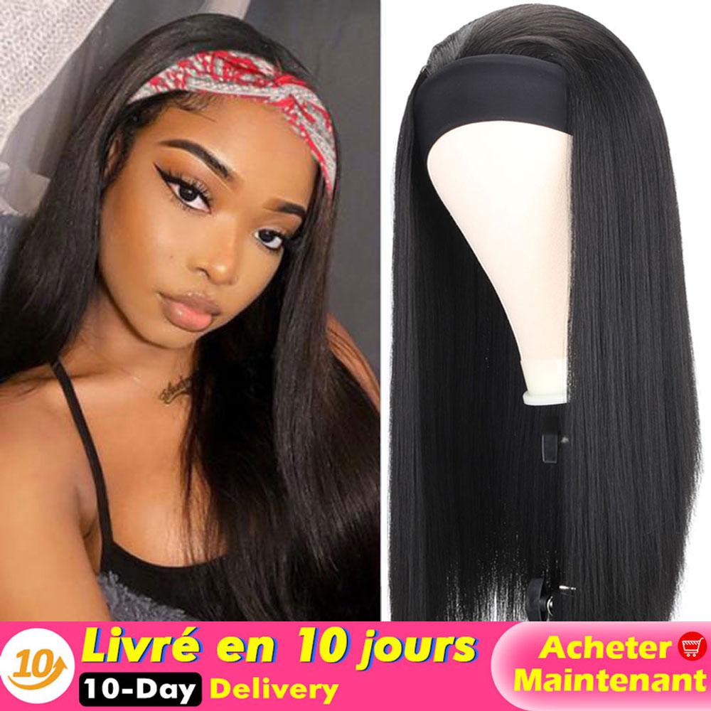 Long Straight/Yaki Headband Wig Heat Resistant Synthetic Women's Headband Wig Black/Brown/Mix Color Hair Wig For Black Women