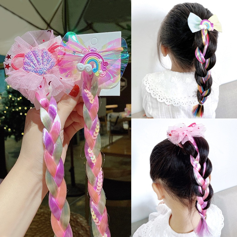 NEW Colorful Wig Pigtail Elastic Hair Rings Ponytail Ropes for Girls Sequin Glitter Unicorn Scrunchies Kids Headwear